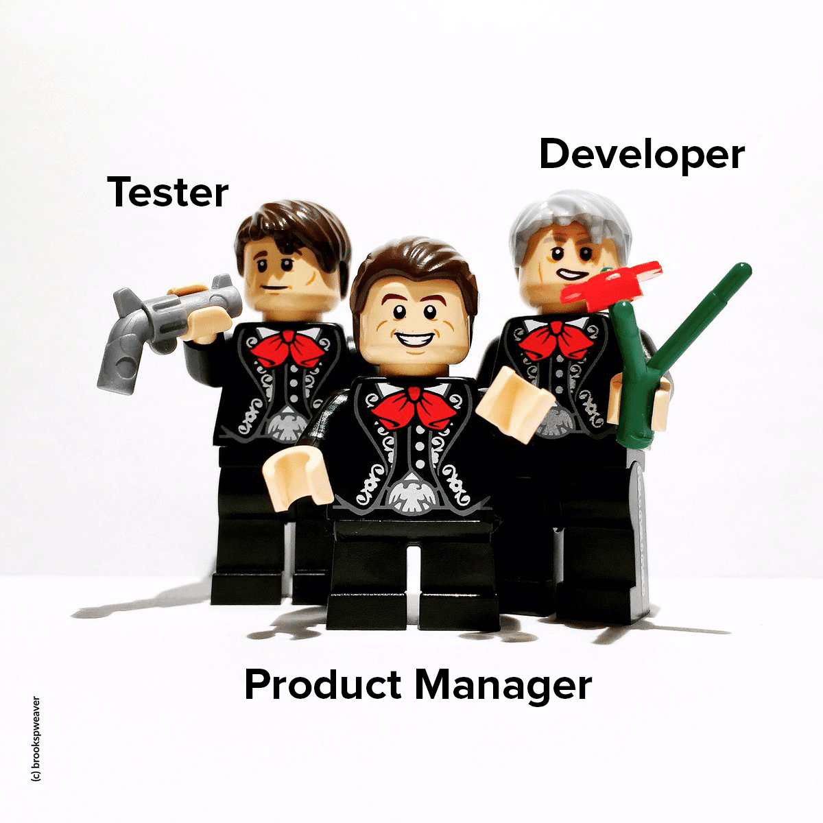 3 lego figures dressed as mariachis emulating the characters from the movie The Three Amigos, but one as tester, other as developer and other as product manager