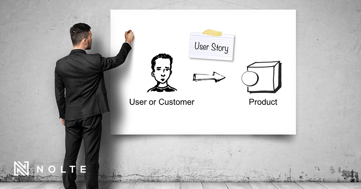 guy in a suit in front of white board with a drawn model of a user story