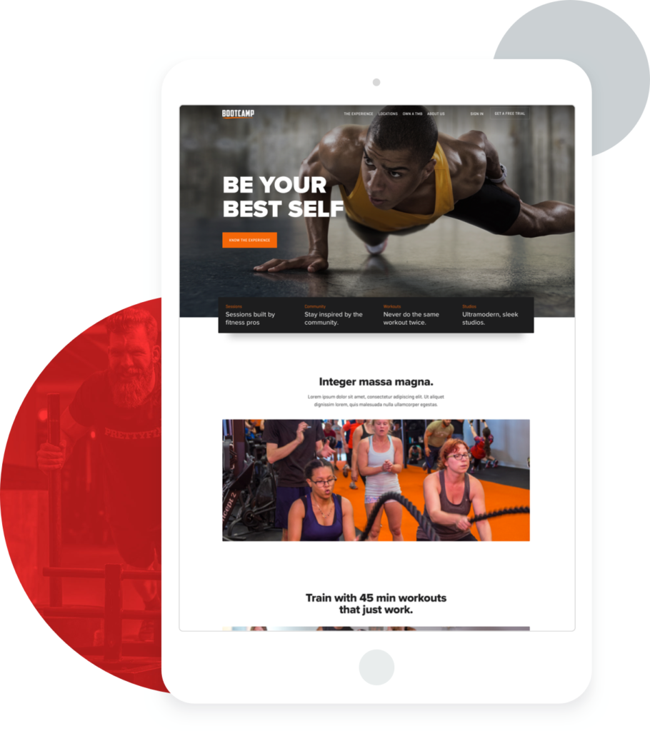iPad with screenshot of Tough Mudder Bootcamp website